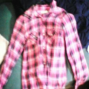 Pink black and white flannel